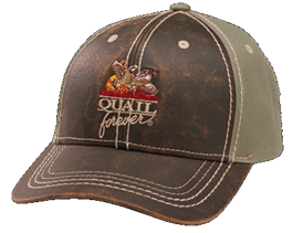 QF Faux Leather Hat - Brown/Sage