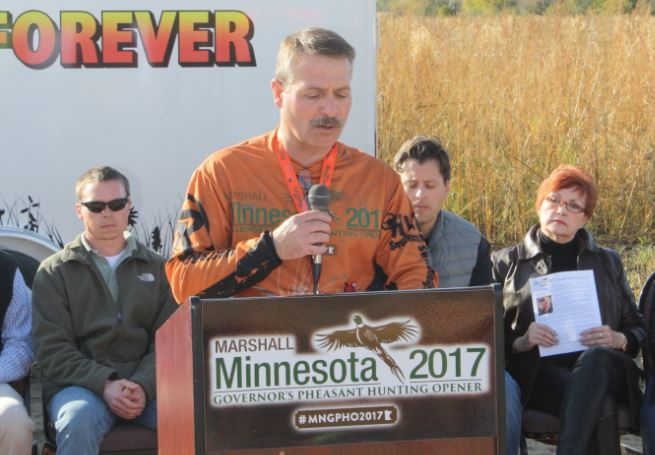 Ron Prorok of Lyon County Pheasants Forever spoke at the Meger WMA dedication.